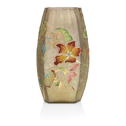 An Emile Gallé enamelled glass vase Circa 1900