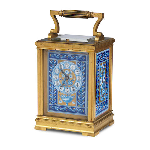 A 19th century French gilt brass and porcelain mounted repeating carriage clock