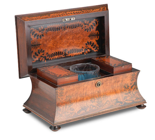 A 19th century rosewood & marquetry burr walnut inlaid tea caddy