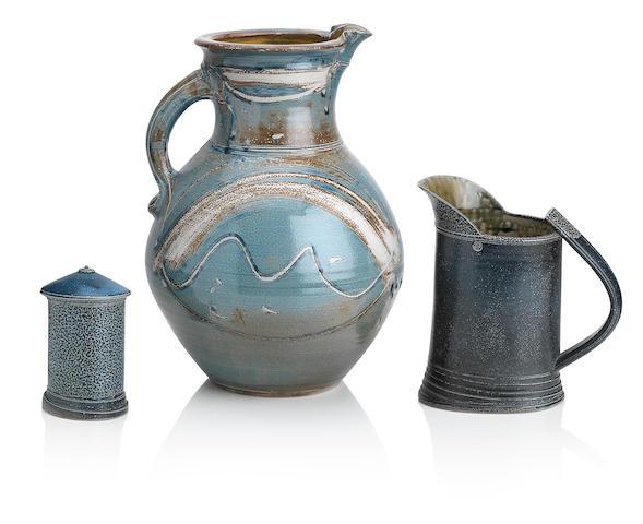 Michael Casson (British 1925-2003): a stoneware jug, and Walter Keeler (British, b.1942): a jug and leaning lidded jar