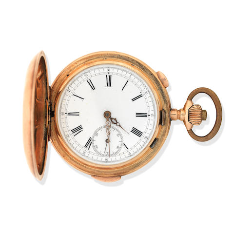 A 14k Gold Keyless Full Hunter Quarter Repeating Chronometer pocket watch