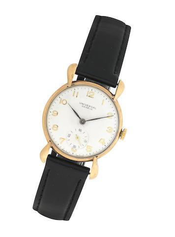 Universal: A 9k gold manual wind wristwatch Birmingham 1975