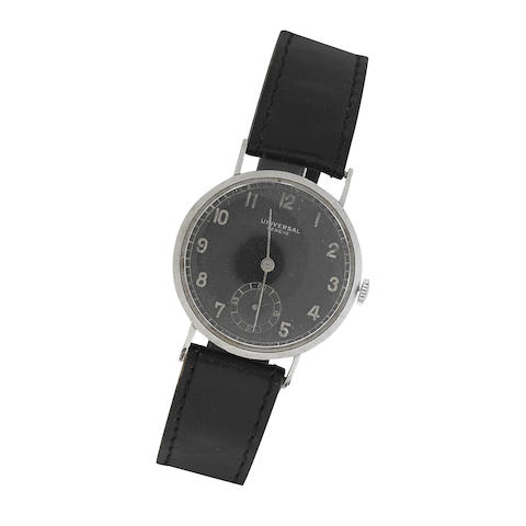 Universal: A Stainless steel manual wind wristwatch