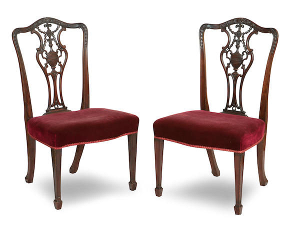 A set of eight late 19th/early 20th century mahogany dining chairs, in the 18th century manner