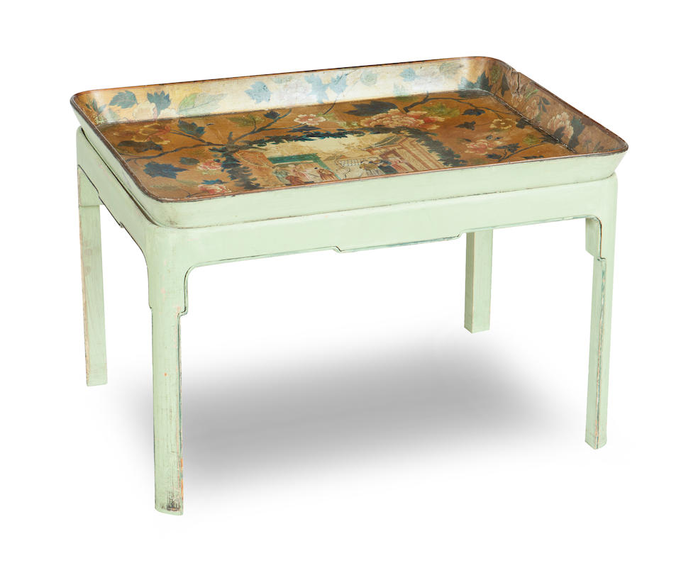 A Regency papier mache tea tray and later stand