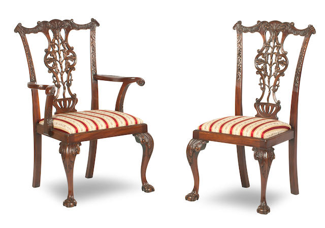 A set of ten 18th century style mahogany dining chairs, in the manner of Chippendale, 20th century   (14)