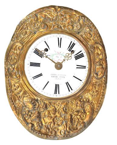 A 19th century Continental wall clock The dial inscribed Antoine Apchin Succeseur de Combret