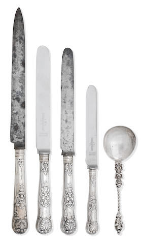 A collection of antique flatware   various makers and dates to include Eley & Fearn, London 1823