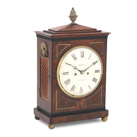 A Regency mahogany bracket clock the dial inscribed N Hedge, Colchester