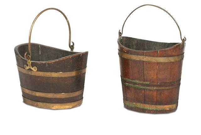 A 19th century mahogany and brass banded bucket  (2)