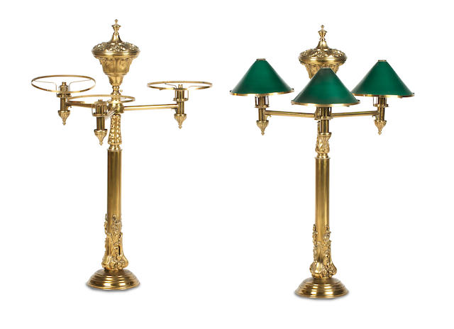 A pair of late Victorian brass gas lamps (2)