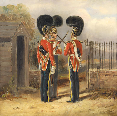 English School, 19th century Changing the guard - the 6th Dragoon Guards (The Carabiniers), early 1830s