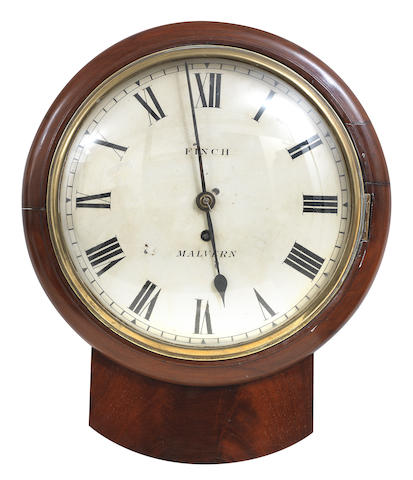 A 19th century mahogany drop dial wall clock The dial inscribed Finch of Malvern