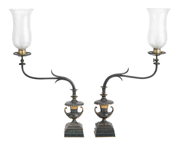 An unusual pair of Arts & Crafts bronze gas lamps, circa 1900 (2)