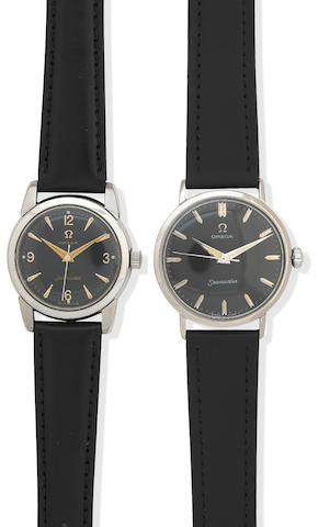 Omega: Two similar stainless steel Seamaster manual wind wristwatches Ref: Case No.2814, Movement No.14237356,