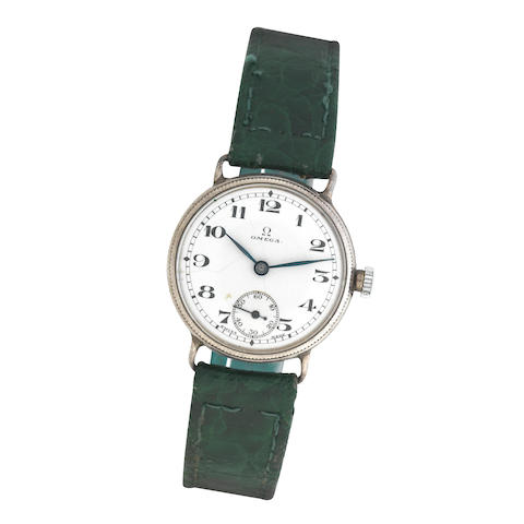 Omega: A silver manual wind wristwatch Birmingham 1928