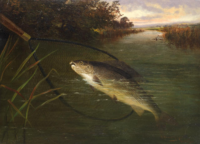 A. Roland Knight (British, active 1879-1921), and Walter Wallor Caffyn (British, 1845-1898) Brown trout catching minnows; Netting a grayling, a pair both 41 x 56.2cm (16 1/8 x 22 1/8in).