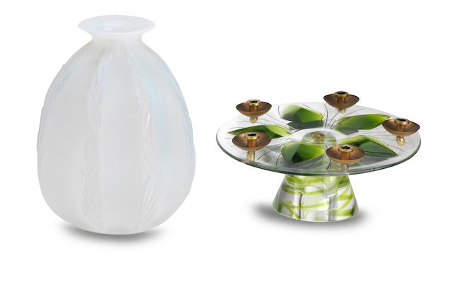 A Sabino frosted glass vase and a modern Lalique candleholder 20th Century