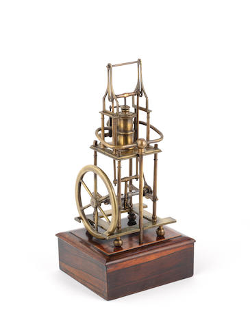 A brass model of a four pillar table engine, 20th century,