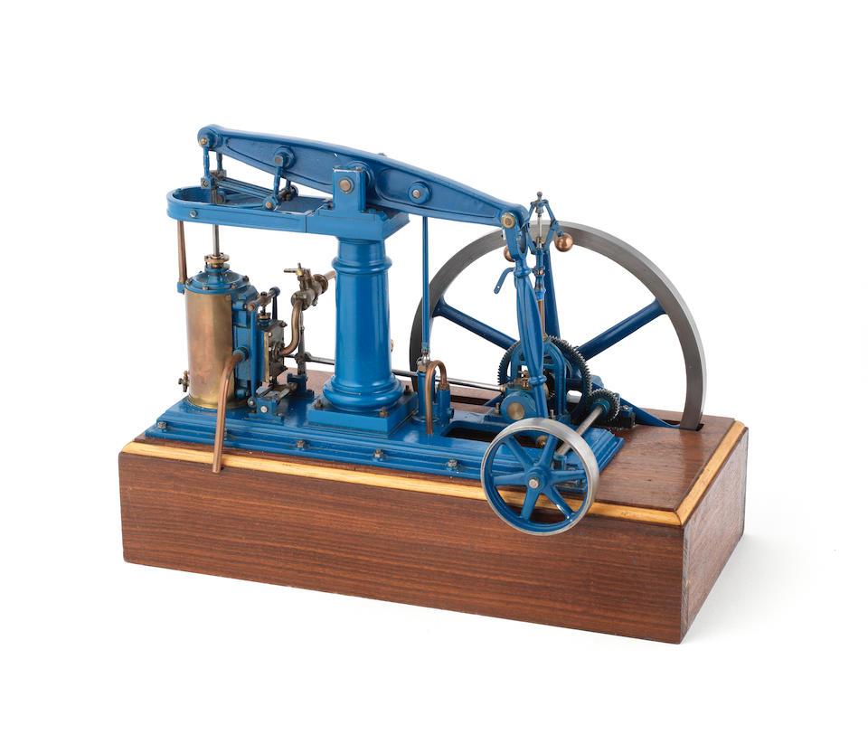 A live steam model of a centre pillar rotative beam engine, 20th century,