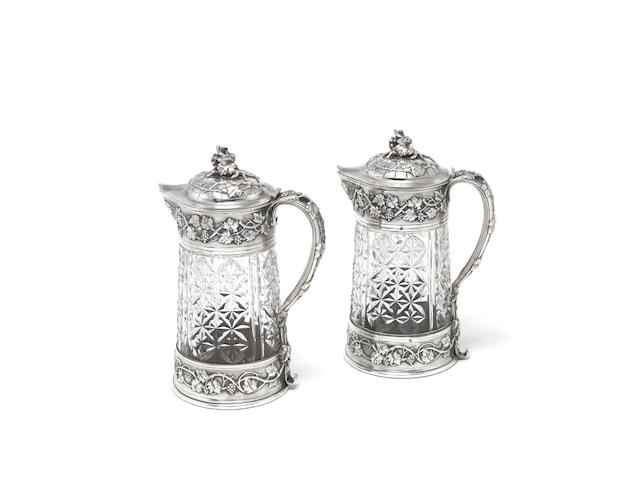 A pair of large French silver-mounted claret jugs Odiot, Paris late 19th century (2)