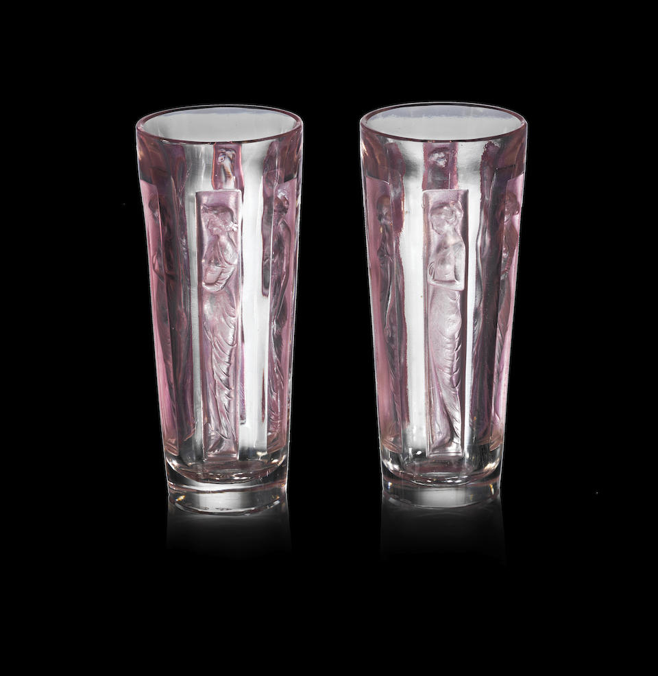 René Lalique (French, 1860-1945) A Pair of Pre-War 'Six Figurines' Goblets, design introduced in 1911