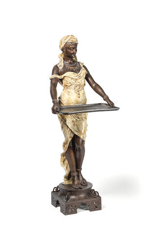 Louis Hottot (French, 1829-1905): A late 19th/early 20th century Austrian cold painted and patinated spelter Orientalist figural card tray