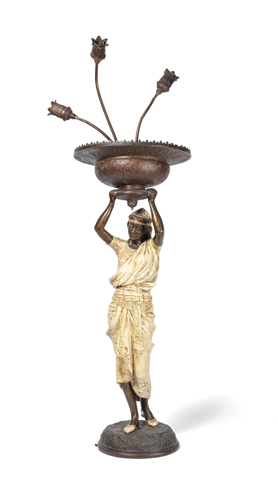 Louis Hottot (French, 1829-1905): An early 20th century Austrian cold painted and patinated spelter Orientalist figural lamp