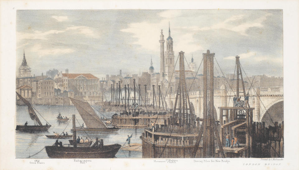 After Thomas Mann Baynes (British, 1794-1854) 'Proposed Improvements on the Bank of the Thames' the first nine 24 x 61cm (9 7/16 x 24in); the smaller print 23 x 40cm (9 1/16 x 15 3/4in). (10)