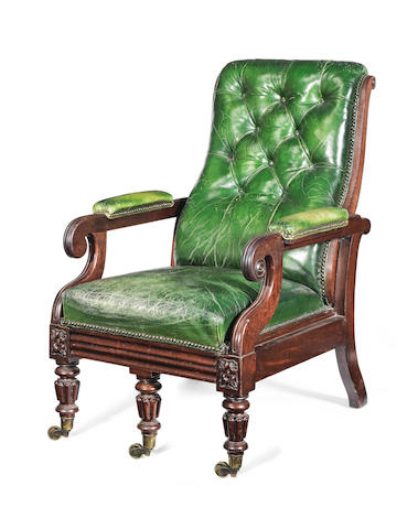 A George IV mahogany reclining armchair in the manner of Gillows