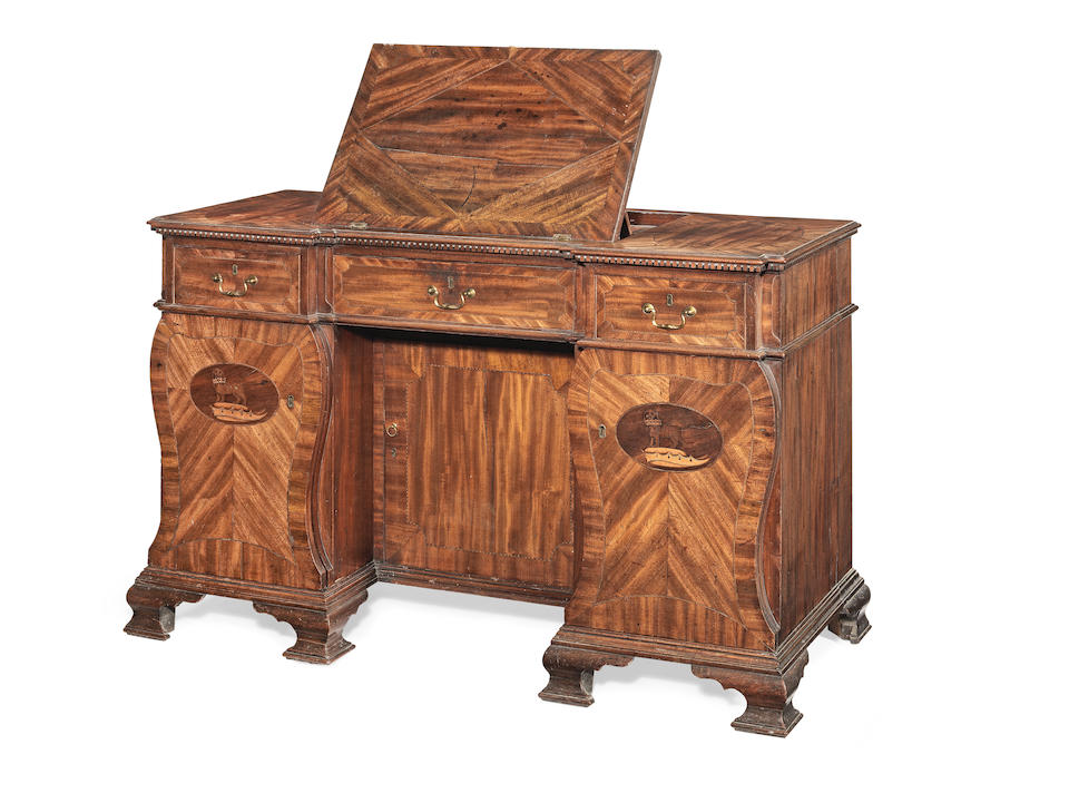 A George III mahogany, purplewood, chequer banded and marquetry kneehole desk almost certainly made for the 9th Duke of Norfolk