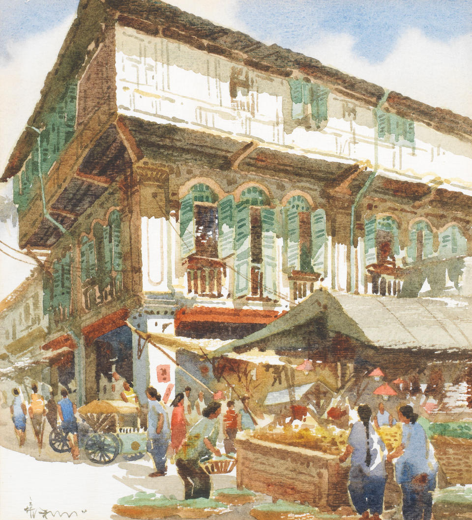 Low Puay Hua (Singaporean, born 1945) China Town, Singapore, a pair each 26 x 23.5cm (10 1/4 x 9 1/4in). (2)