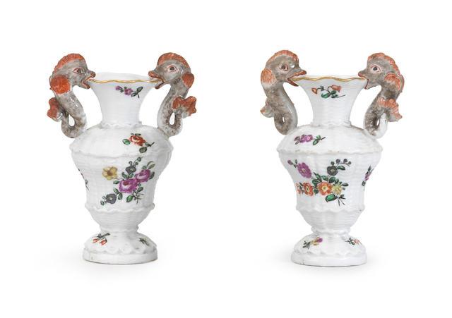 A pair of Capodimonte or Buen Retiro small vases Circa 1755-65
