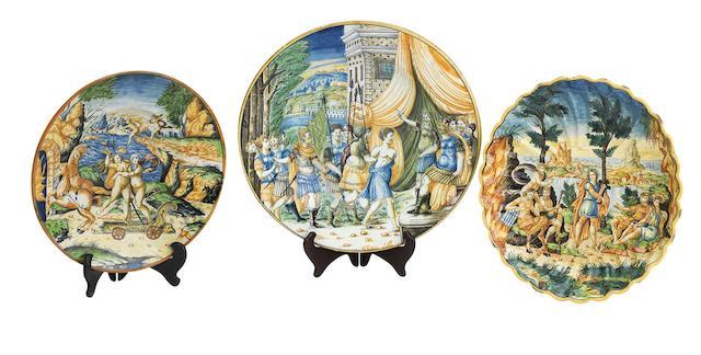 Three Italian maiolica dishes 19th Century