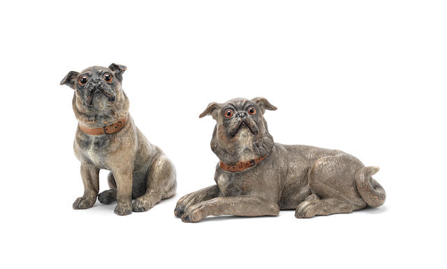 A pair of amusing Austrian painted terracotta models of pugs probably late 19th or early 20th century (2)
