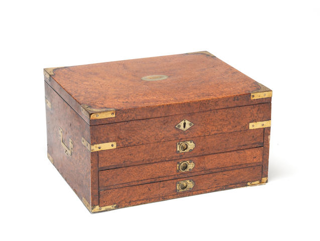 A good Victorian brass bound and mounted amboyna collector's table cabinet or chest
