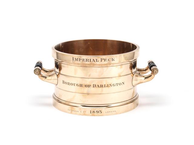 A brass imperial peck grain measure