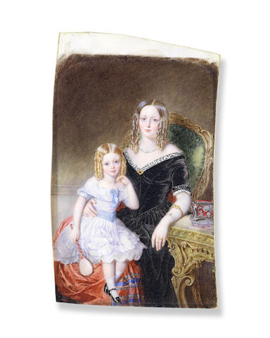 Sir William Charles Ross, RA (British, 1794-1860) A portrait miniature of Mrs Fanny Lort Stokes and her daughter Louise