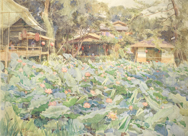 Walter Frederick Roofe Tyndale, R.I. (British, 1856-1943) A Japanese lotus garden 26 x 36.9cm (10 1/4 x 14 1/2in) (image size). unframed