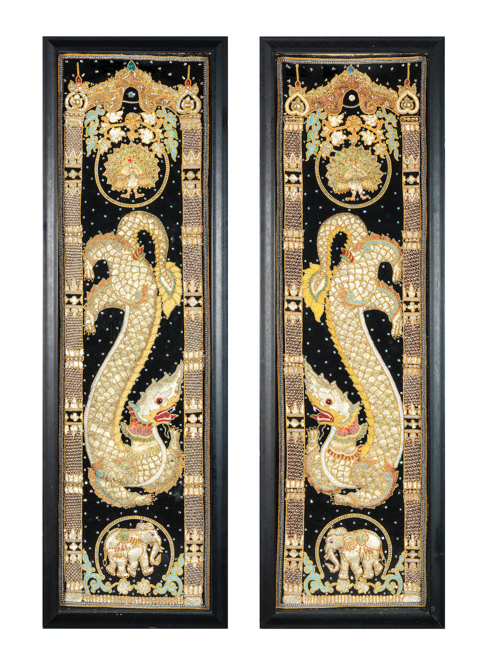 A pair of 20th century decorative embroidered decorative panels probably Taiwanese (2)