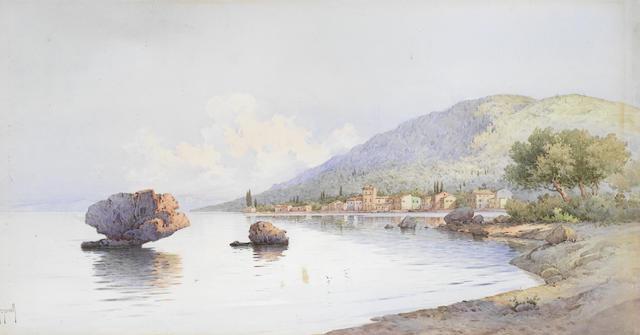 Spyridon Scarvelli (Greek, 1868-1942) Bay scene, Corfu