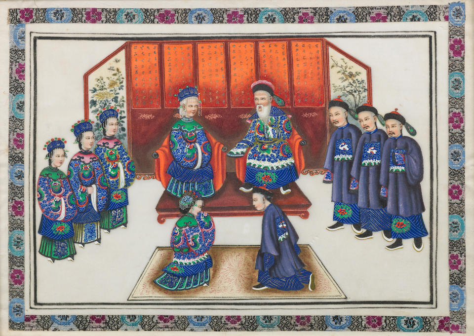 A set of twelve pith paintings 19th century (12)