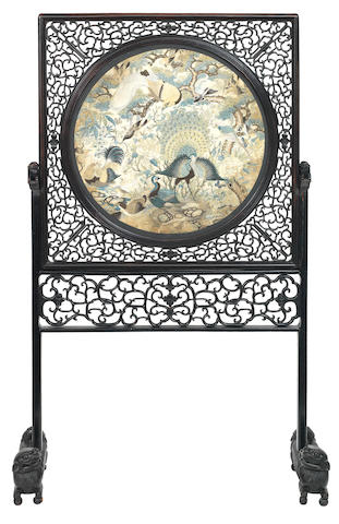 A hardwood screen with silk embroidered panel of birds 19th century