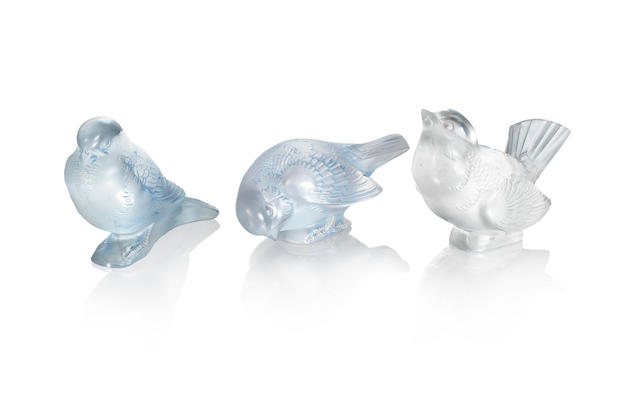 RENÉ LALIQUE (FRENCH, 1860-1945) Three Pre-War 'Moineau' Paperweights: 'Fier', 'Moqueur' and 'Sournois', designs introduced in 1929 and 1930