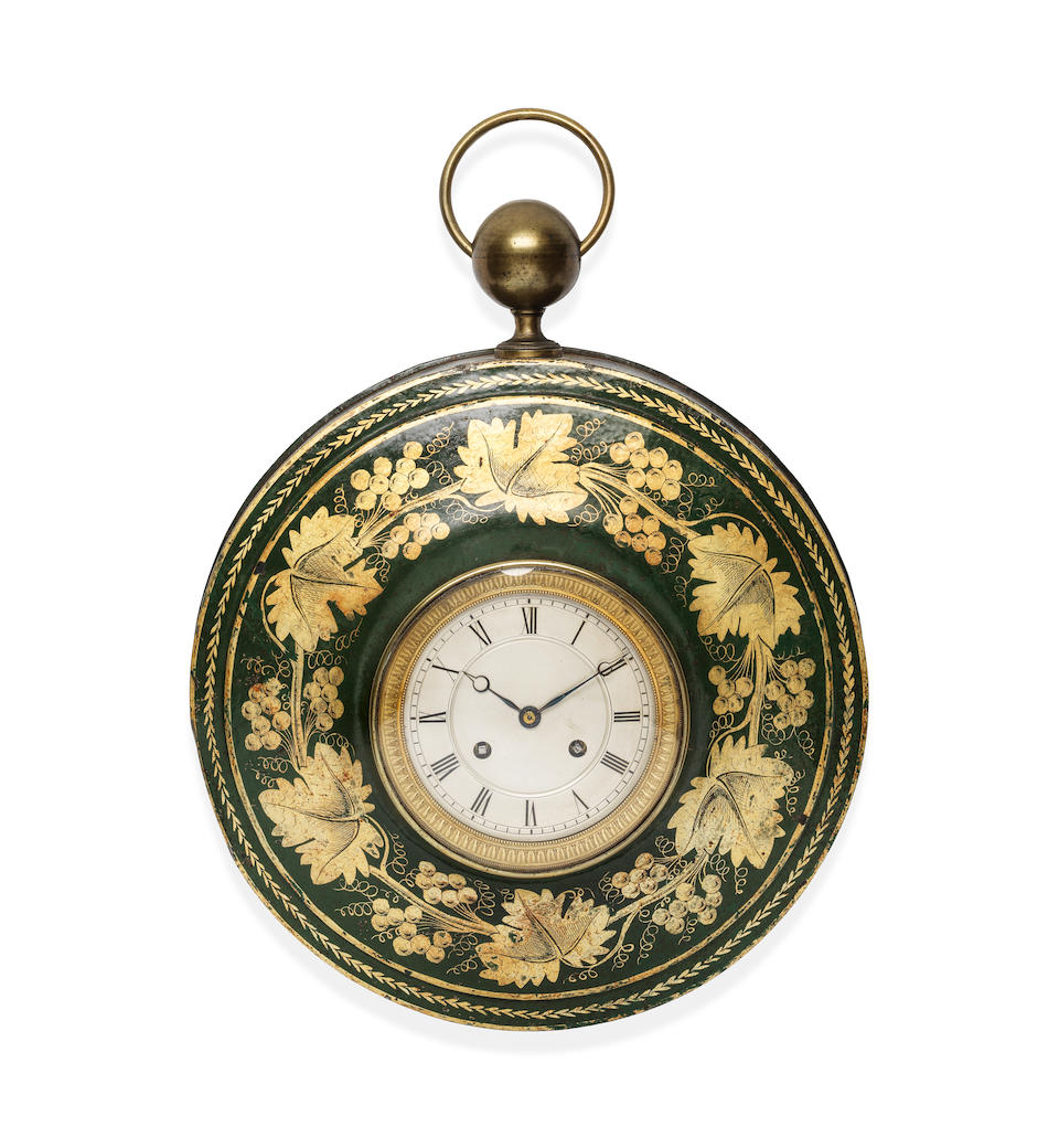 A 19th century French green and gilt japanned tôle peinte sedan style wall clock
