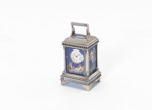 An early 20th century Swiss silver miniature carriage alarm timepiece with enamelled night scenes the movement stamped Rau & Steinmeyer Geneve Pforzheim No:10964 1