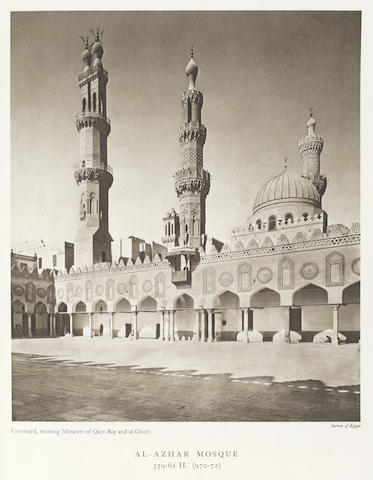 CRESSWELL (KEPPEL A.) The Mosques of Egypt... Being a Series of Views in Colour and Monochrome of the Principal Mosques of Egypt with a Brief Note on Each Monument Describing its History and Architectural Features Accompanied by Detailed Plans and Maps, 2 vol., Giza, The Survey of Egypt, 1949