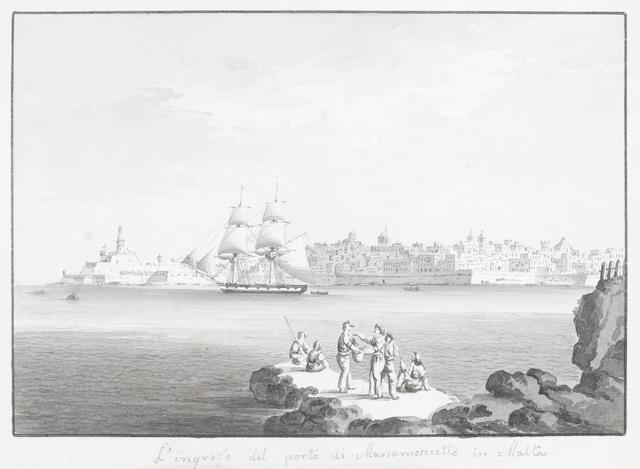Circle of Anton Schranz the Younger (active Malta, 1801-circa 1865) 'L'ingresso del porto di Marsamoscietto in Malta'