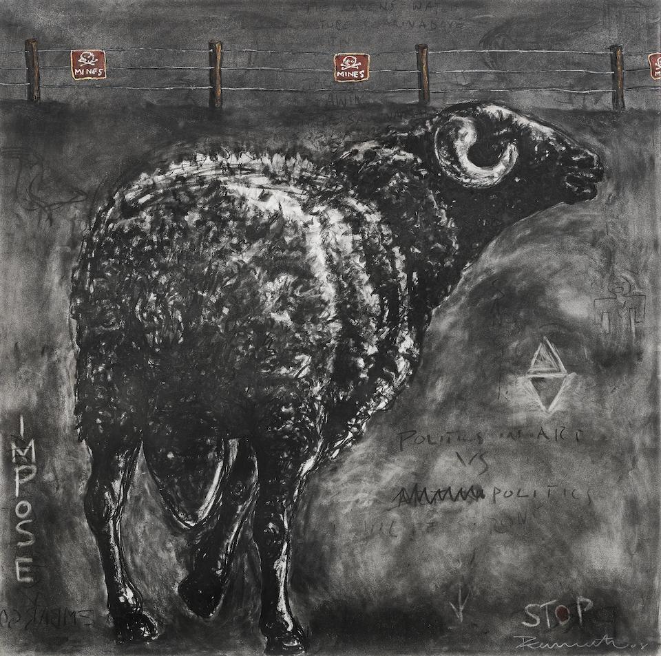 Peterson Kamwathi (Kenyan, born 1980) Ram I, II & III, a triptych ((3).)