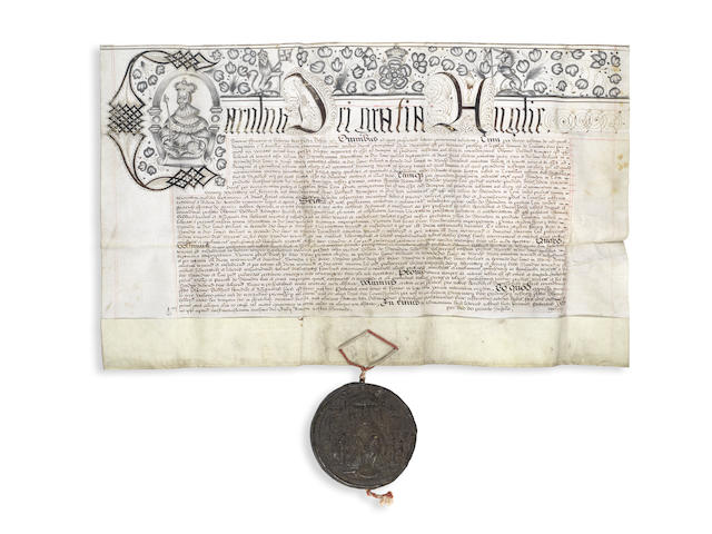 """WILTSHIRE – SWINDON FAIR AND MARKET Letters Patent issued by Charles I under the Great Seal, and embellished with an initial letter portrait of the King, granting Thomas Goddard """"to have & to hold within the town of Swindon one Markett every Monday in the week"""" for ever """"& two Faires there yearly"""" for ever, Westminster, 20 July in the second year of the King's reign [1626]"""